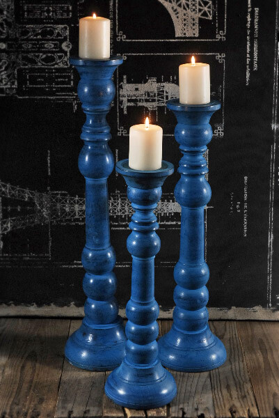 Turned Wood Pillar Candle Holders