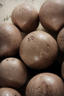 12 Vintage Reproduction Lottery Balls