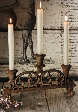 Rusted Tabletop Candelabra
