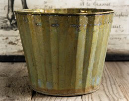 Scalloped Metal Planter Pot 6in