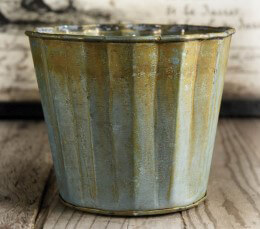 Scalloped Metal Planter Pot 5in