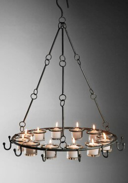 Metal Candle Chandelier with Hooks