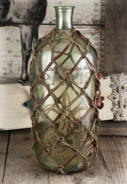 Petite Strap-net Wrapped Decorative Glass Bottle 12-1/2""