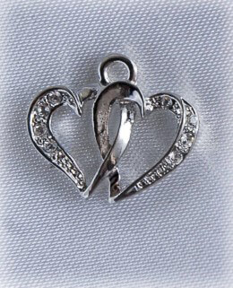 Jeweled Double Heart Rhinestone Charm
