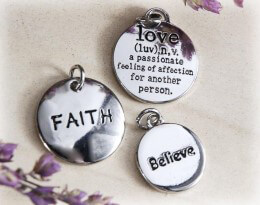 Round Silver Charms Faith, Love, Inspire, Believe  (3 charms)