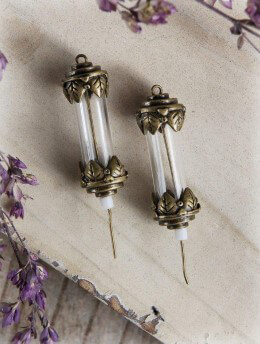 Fillable Antique Brass Vial Bottle Charm Set of 2