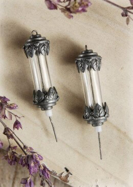 "2 Fillable Vial 2"" Charms Antique Silver"