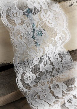 "Wide White Lace Ribbon Trim 6"" x 10 yards"