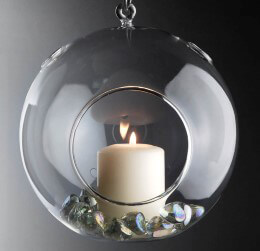 Glass Ball Candle Holder Flat Bottom 7in