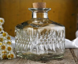 Clear Textured Glass Bottle with Cork