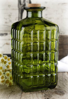 Vintage Carafe Green Glass Cork Top 7""
