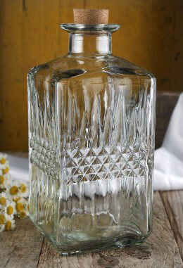 Textured Tall Clear Glass Bottle