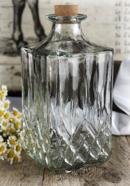 "Thick Glass Square Bottles Cork Top 7"" Vintage Carafe"