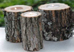 Rustic Tree Branch Candle Holder | 4in