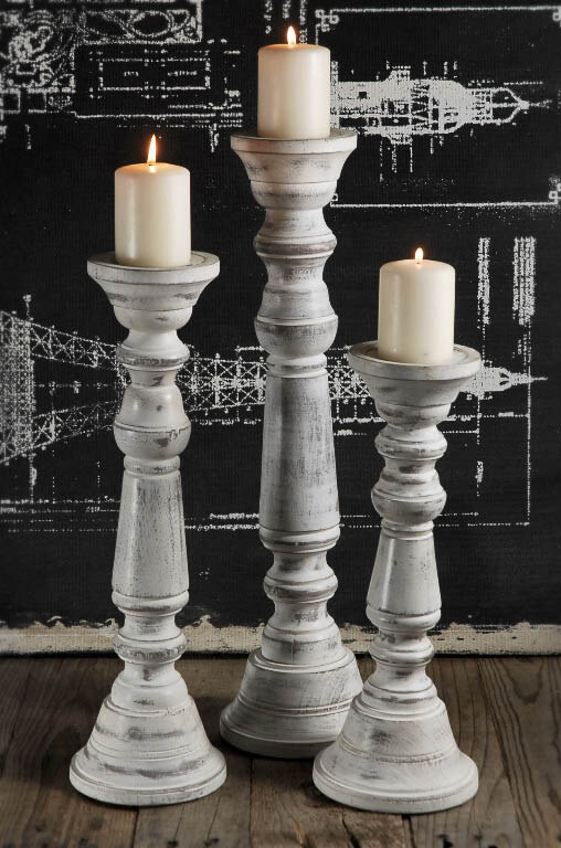 Wood pillar candle holder white set of 3 for Wooden candlesticks for crafts