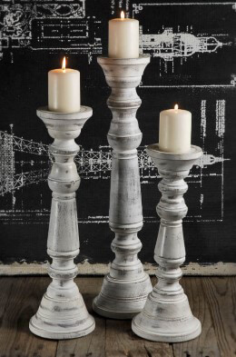 Wood Pillar Candle Holder White (Set of 3)