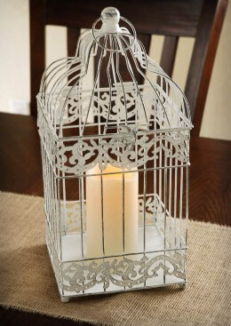 Battery Operated Bird Cage Lantern 15.5in | White