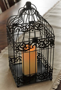 Bird Cage Lantern Battery Operated Black