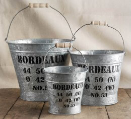 Bordeaux Galvanized Bucket Set 5in, 6.5in, and 8in
