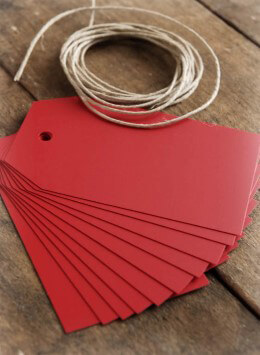 Red Chalkboard Tags w/String (Pack of 10)