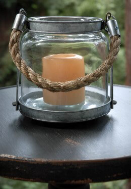 Hanging Glass Lantern w/Rope Handle