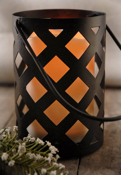 Battery Operated Candle Lantern Hanging Black Criss Cross