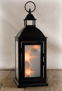 Black Floating Star Lantern 13in