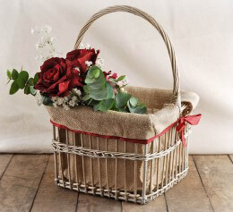 Burlap Lined Brown Basket