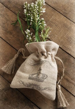 Crown Printed Linen Gift Bag