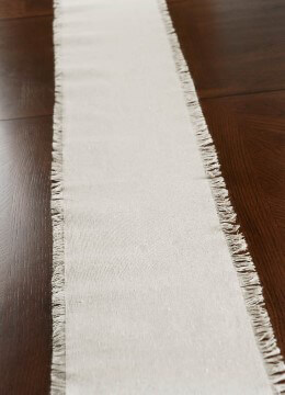 Fringed Edge Linen Table Runner 108in
