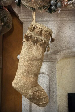 Natural Burlap Stocking with Tassels 18in