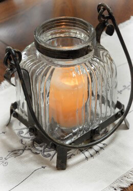 Metal Glass Lantern Rustic Antique Design