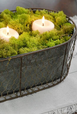 "Rustic 14"" Metal Oval Bucket with Chicken Wire"