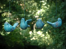 Blue Hanging Ceramic Birds Set of 4