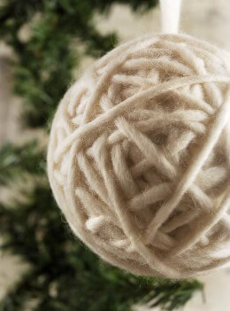 White Yarn Ball Ornament