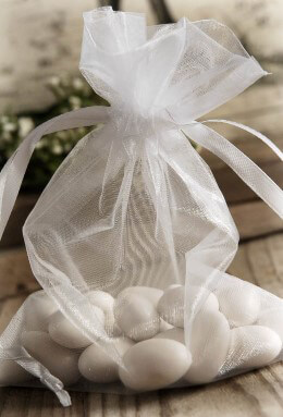 10 White Sheer Organza Favor Bags 7""