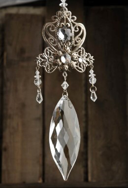 Silver Crystal Filigree Ornament