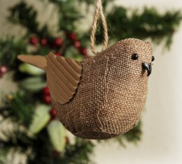 Burlap Bird Ornament