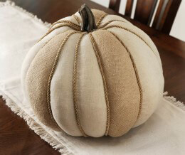 Burlap and Jute Pumpkin 14in