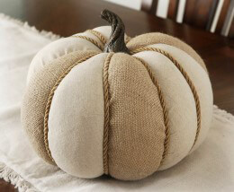 Burlap and Jute Pumpkin 11in