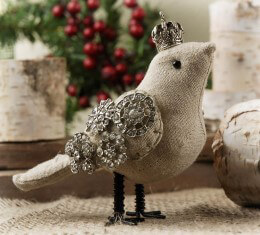 Crowned Linen Bird Ornament