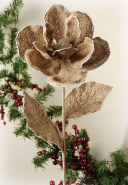 Burlap Magnolia Spray
