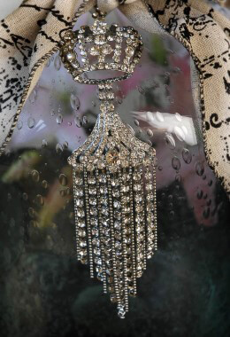 Silver Jeweled Crown Ornament