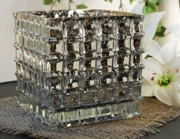 Silver Mercury Glass Cube Vase 6in