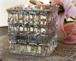Silver Mercury Glass Cube Vase 4in