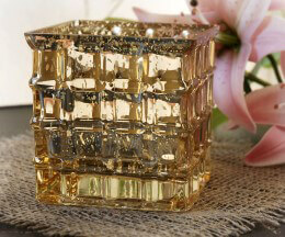 Gold Mercury Glass Cube Vase 4in