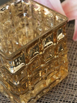 Gold Mercury Glass Cube Vase & Candle Holder 4in