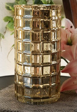 Gold Mercury Glass Cylinder Vase 10in