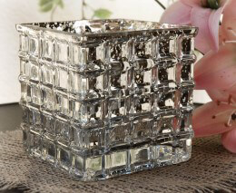 Silver Mercury Glass Cube Vase 4.75in