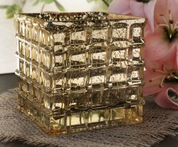 Gold Mercury Glass Cube Vase 4.75in